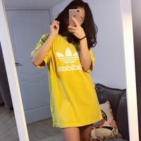 adidas Originals adicolor Trefoil Oversized T-Shirt In Yellow