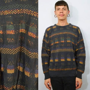 90s Grunge Sweater Medium Mens Geometric From Gothwave Sweaters