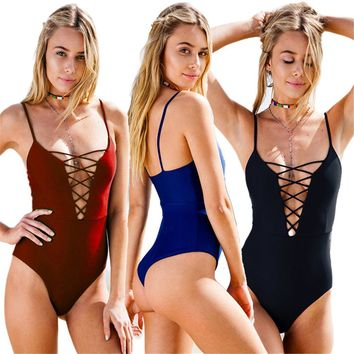 2017 Bodysuit Women Sexy Backless Sleeveless Lace-up Basic Romper Ladies Bikini Style Slim Swimsuit Female