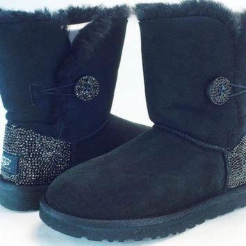 DCCK8X2 Custom Bailey Buttom UGG Boots made with Swarovski Crystals Free: Shipping, Repair Kit