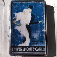 Art Deco Retro Metal Wallet Vintage Cigarette Case ID Holder Retro French France Monte Carlo Money