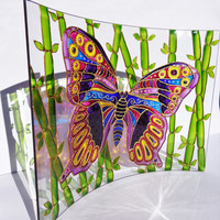 Butterfly art Set of 2 Photo frame Glass painting Glass frame