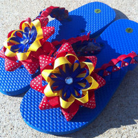 Kansas Jayhawks Inspired Flip Flops- Ladies Size S (5-6)