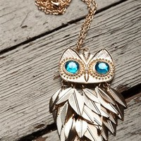 Jeweled Eye Owl Necklace - Gold from Jewelry & Accessories at Lucky 21 Lucky 21