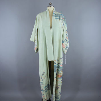 SALE - 1950s Vintage Silk Kimono Robe / 50s Silk Wedding Dressing Gown Lingerie / Downton Abbey Art Deco / Pale Blue Traditional Floral