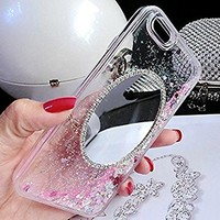 iPhone 7 Plus Mirror Case,Inspirationc Luxury Bling Diamond Mirror Glass Cover for iPhone 7 Plus 5.5 Inch Dynamic Glitter Flowing Liquid Quicksand Clear Case for Girls Women--Pink