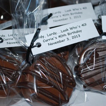 Milk Chocolate Covered Oreos with Dark Chocolate Drizzle – 30 Custom Cookies  – Birthday / Wedding / Shower Favors