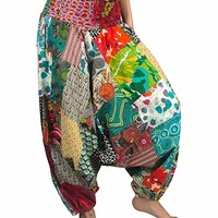 Tribe Azure 100% Cotton Harem Pants Colorful Summer Hippie Yoga Boho Casual Fashion Women