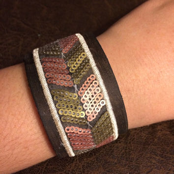 Earthtone Chevron and Brown Leather Women's and Girl's Essential Oil Diffuser Bracelet with Belt Closure