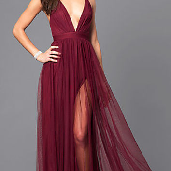 Long Formal V-neck Prom Gown with Open Back