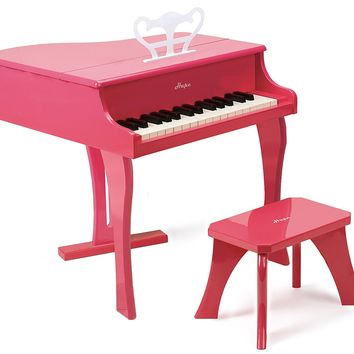Hape Happy Grand Piano in Pink and Black Toddler Wooden Musical Instrument