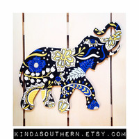 Hand Painted Wooden Elephant ~ Lilly Pulitzer / Vera Bradley Inspired