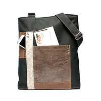 Men's leather satchel, leather man bag,  durable material similar to cordura, large bag, ipad laptop messenger bag , cross body bag