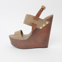 Tan and Brown Wedge