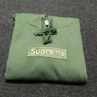 """Supreme""Fashion leisure loose hooded sweater Light green"