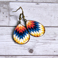 chevron resin drop earrings, antique brass, colorful, hippie, boho