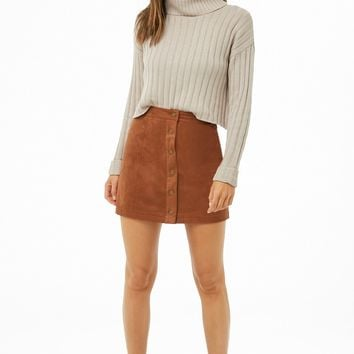 Faux Suede Mini Skirt