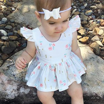 Summer Back Heart Shape Hollow Flower Print Kids Infant Toddler Bebe Clothing Baby Girls Birthday Dress Outfit Costume Dresses