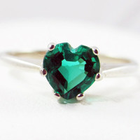 Emerald Heart Sterling Silver Ring