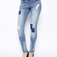 Mango Distressed Patch Print Jeans
