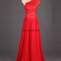 red long pron dresses red chiffon and applique lace dress for party elegant one shoulder evening gowns cheap prom dresses