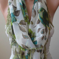 Lightweight - Green and Brown -  Silk - Chiffon Scarf with Green Trim Edge