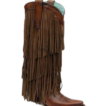 Corral Womens Sierra Tan Fringe Tall Top Boot - C2700