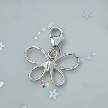 Clip on Charm, Butterfly Charm, Sterling Silver