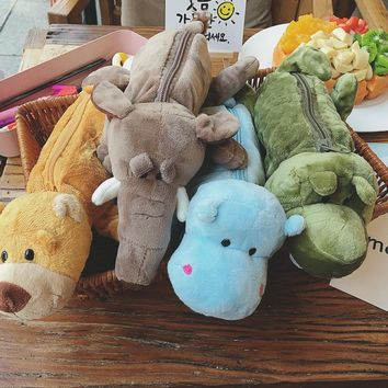1pc 25cm elephant bear hippo crocodile creative plush pencil bag case student prize stuffed toy