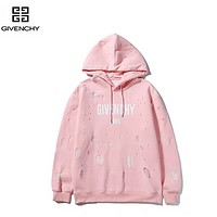 Givenchy Autumn And Winter New Fashion Letter Print Women Men High Quality Hole Hooded Long Sleeve Sweater Pink