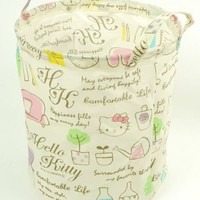 Hello Kitty Upright Storage Box Barrel Can be folded French country style
