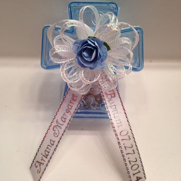 12 Personalized Mini Rosary Favors w/Blue Keepsake Box Baptism/Communion Personalized Recuerdos de Bautizo