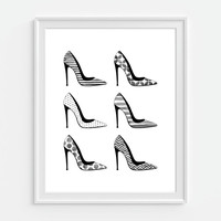 High Heel Shoe Art Print, Faux Watercolor Print, Pumps, Fashion Art 5x7, 8x10, 11x14 Bedroom Decor, Fashion Wall Art, Girly Art