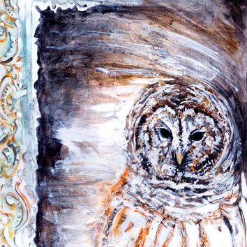 Owl print, 11x14, giclee print, wildlife art, animal painting, nature art, rustic decor, home decor, art print, bird print, owl wall art
