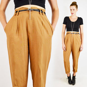 vintage 80s brown HIGH WAIST SKINNY pants / high waisted skinny pants / skinny leg pants / pleated trouser pants / brown dress pants / m