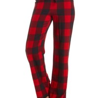 Plaid Flannel Pajama Pants by Charlotte Russe - Black Combo