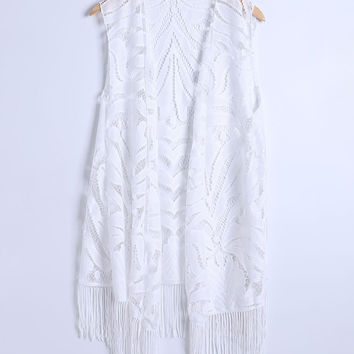 Fringe Crochet  Lace Long Cover Up