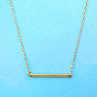 Beautiful, Dash, Gold filled, Sterling Silver, Slim, Bar, Necklace