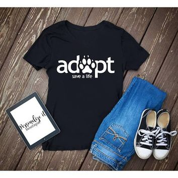 OKOUFEN adopt save a life T-shirt Funny cute Tumblr crewneck fashion women unisex graphic cotton casual cool clothing free ship