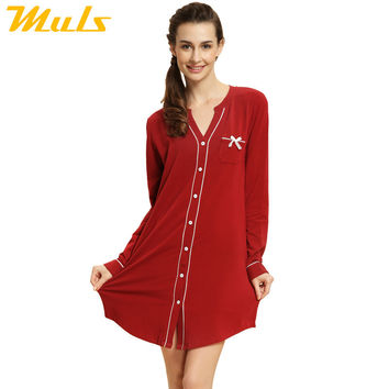 Nightshirt pattern fleece zipper robe fun knee sleep night shirt brand sleepwear nightgown clothing for home female 1537