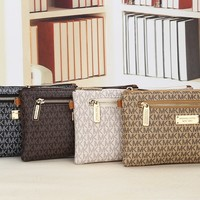 """Michael Kors"" Casual Fashion Letter Print Zip Single Shoulder Messenger Bag MK Women Clutch"