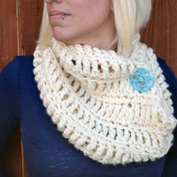 The Northerner crochet infinity scarf, winter cowl, crochet button cowl in snow white