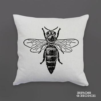 Queen Bee Throw Pillow | Screen Printed Honey Bee Couch Pillowcase