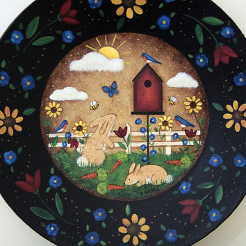 Primitive Folk Art Painting MADE TO ORDER Spring Wood Plate with Birdhouse, Bunnies, Bluebirds, Flowers, Primitive Colors, Sunshine, Tulips