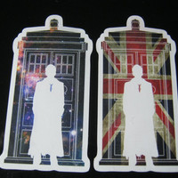 """Two DR. DOCTOR WHO Tardis Sticker Decal 4"""" for kindle, ipads, iphone, apple laptop, shirts, cars, tardis, dale"""