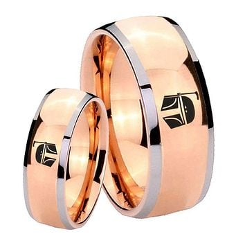 His Hers Rose Gold Dome Star Wars Boba Fett Sci Fi Science Two Tone Tungsten Wedding Rings Set