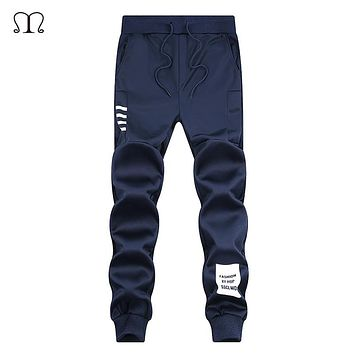 New Fashion Sweatpants Men 2018 Mens Joggers Pockets Pants Gyms Skinny Trousers Slim Fitted Casual Straight Elastic Waist Pants