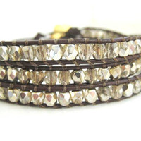 Glitz Gold Triple Wrap Brown Leather Chan Luu by JulieEllynDesigns
