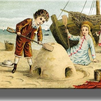 Boy and Girl Playing in Sand Vintage Style Picture on Acrylic , Wall Art Décor, Ready to Hang!