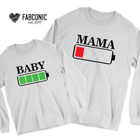 Mommy and baby, Matching mommy and baby sweatshirts, Sweatshirts for mommy and baby, Battery low sweatshirt, Mommy baby matching sweatshirts
